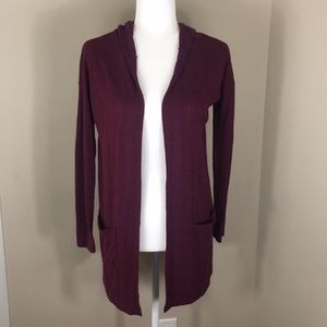 American Eagle Cranberry Colored Open Cardigan